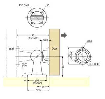 Drawing for Dome Style Magnetic Door Holder