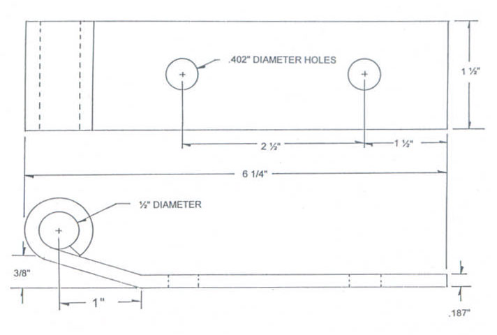 "6"" Mill Finish Stainless Steel Strap & Bracket Drawing"