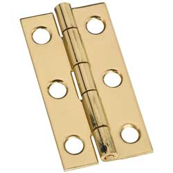 "2"" x 1"" x 0.04"" Narrow Miniature Solid Brass Full Surface Hinge"