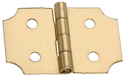"5/8"" x 1"" x 0.02"" Miniature Decorative Polished Solid Brass Full Surface Butt Hinge"