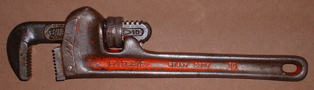 "#401170-  Used 10"" Ridgid Heavy-Duty Straight Pipe Wrench"