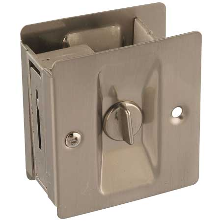 Solid Brass Pocket Door Latch with Satin Nickel Finish