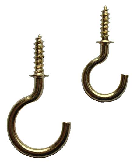 Solid Brass Cup Hook without Ball Tip